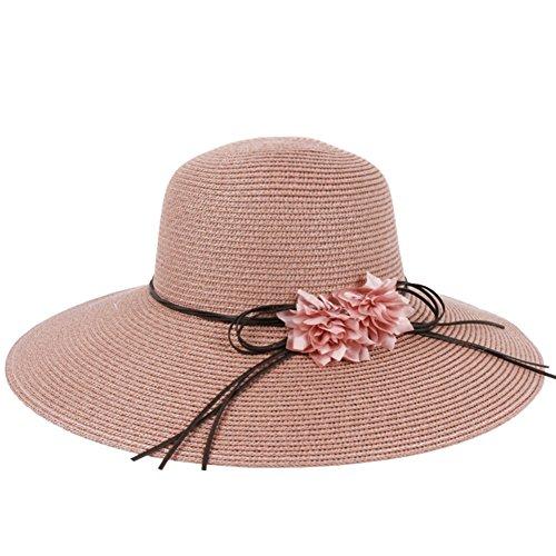 Été chapeau de paille/visière/fleurs doubles en chapeau de soleil d'été/Sun chapeau de plage/Chapeau à large rebord couvrant son visage E