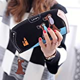 Women Wallet,Vandot Fashion [Large Capacity] Stitching Zipper PU Leather Lady Long Wallet Purse Multi-slots Hand Wallet Purse Party Bag Card Holder Case Cartoon Puppy Dog Pattern Phone Case - Black