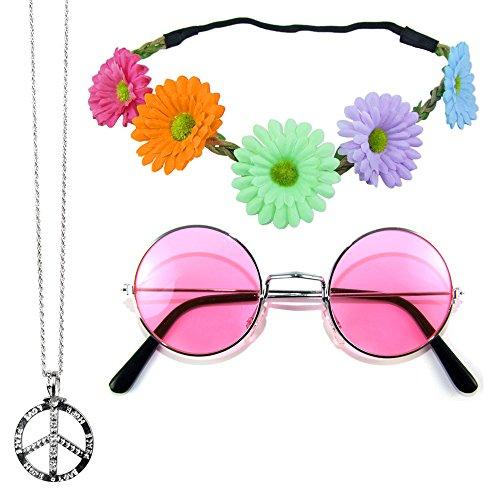 Hippie Set 3-tlg. - Margeriten Haarband, Peace Kette und Lennon Brille - Pink