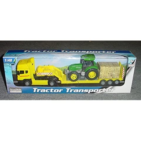 Banaghans Diecast Metal Tractor Transporter 1:48 Scale- Yellow Low Loader With Green Tractor (bt37) by Banaghans