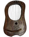 NEW Lyre Harpe 10cordes en métal gravé à la main en bois de sheesham sans étui et clé/Lyra Jante Harpe en palissandre