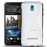 Conie Rückschale kompatibel mit HTC Desire 500, Transparente Silikon Backcover Schutzhülle aus sturzsicheren TPU Kratzfest Kantenschutz