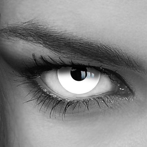 Farbige Jahres-Kontaktlinsen White Out (003) - OHNE Stärke - Crazy Fun Halloween Fasching - von LUXDELUX® - (+/-0.00 DPT)