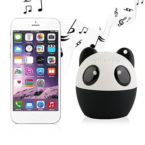 Mini Enceinte Tsing Enceinte Portable Bluetooth Haut-parleur Audio Enceinte sous la Forme d'Animal 4 Heures à Jouer Parfaitement pour les Sports en d'Hors (Panda)