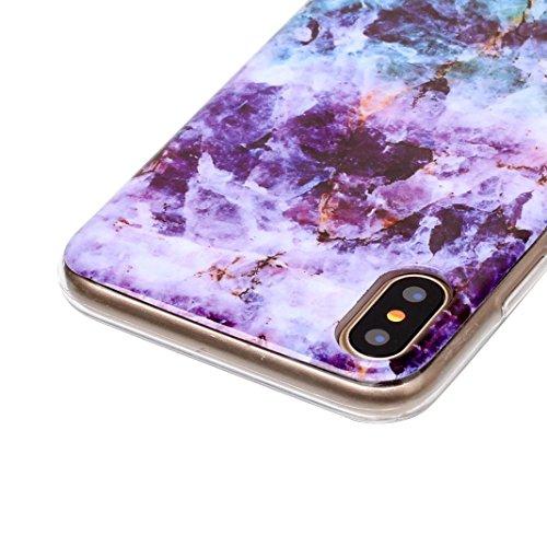 iPhone X Hülle Marmor, Rosa Schleife Ultra Dünn Slim Silikon Backcover mit Bunte Marmor Muster Bumper Schale Schutzhülle Handyhülle für iPhone X 2017 Lila Blau Mermor