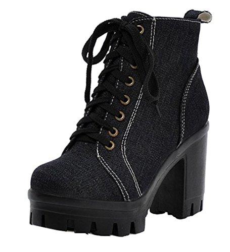 YE Frauen Runde Zehe Blockabsatz High Heel Plateau Schnüren Denim Stiefeletten Herbst Winter Ankle Boots Schuhe Schwarz