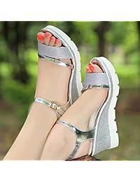 d05cf2ca4253 Swertuy Sexy Sandalias de tacón Alto Mujer Verano Nueva versión Coreana de  la Plataforma Muffin Zapatos
