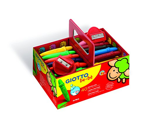 Giotto be-bè 462700 - Pack 40 súper ceras irrompibles de colores y 2 sacapuntas