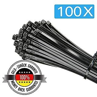 100er Packung mit schwarzen Kabelbindern - 300 mm x 4,8 mm - Premium Nylon-Kabelbinder - widerstandsfähige UV- und hitzebeständige Kabelbinder von Calaisco