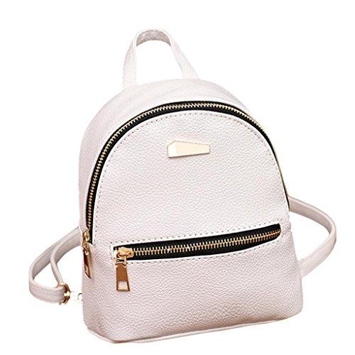 LeeY Damen Mini Rucksack, Casual Kleiner Rucksack Leder Rucksack Elegant Schulrucksack Mini Handtasche Daypack Schulranzen Schultertasche Wasserdichte Reiserucksack Tasche Backpacks (Weiß)