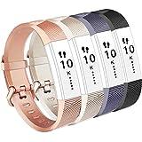 Vancle Fitbit Alta HR Armband, Fitbit Alta Armband Weiches Sports Ersetzerband Silikagel Fitness Verstellbares Uhrenarmband für Fitbi Alta und Fitbit Alta HR (#4 Champagne+Rose Gold+Black+Grey, S)