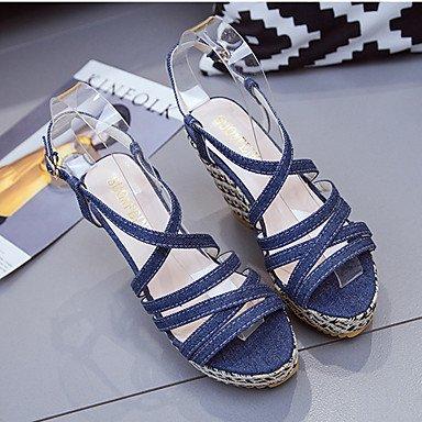 LvYuan Sandalen-Kleid Lässig-Leinwand-Flacher Absatz Keilabsatz-Komfort-Mehrfarbig Dark Blue
