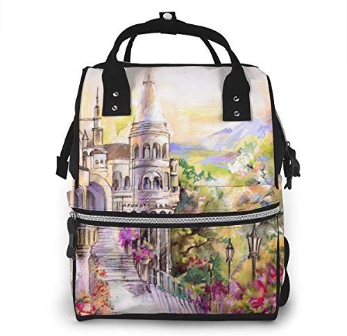 UUwant Mama Windel Rucksack Large Capacity Diaper Backpack Travel Manager Baby Care Replacement Bag Nappy Bags Mummy BackpackA Beautiful Fairy Tale Castle