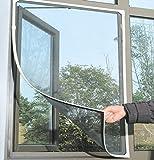 ShiyiUp Fliegengitter für bodentiefe Fenster - Insektenschutz Selbstklebend - Fliegen Netz Ohne Bohren 150 cm x 130 cm