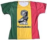 TICILA Damen T-Shirt Grün Gelb Rot Stonewash Jamaica Flagge Rasta Rastafari L 42
