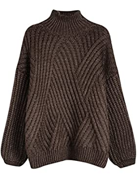 Vogueearth Fashion Hot Mujer's Ladies Largo Manga Thick Knit Jumper turtleneck Jersey Sudaderas Suéter Pull-over...