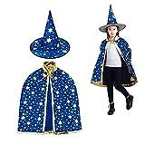 Cape du magicien,Chapeau de magicien et Manteau de Sorcière, Chapeau Magique Cape Sorcière la Cap Costume d'Halloween Enfants Bleu