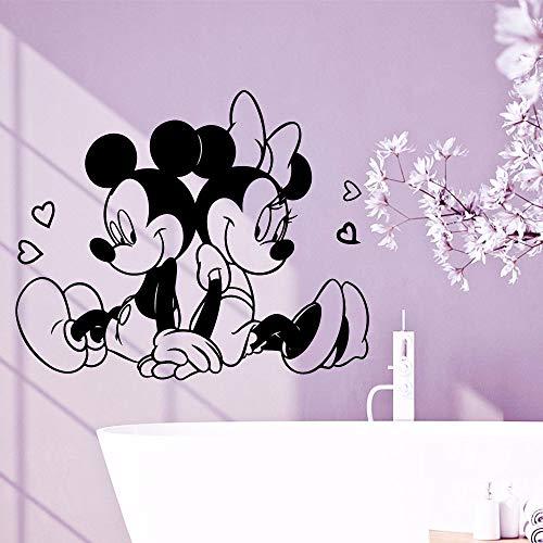 LLLYZZ Schöne Mickey Minnie Maus Vinyl Wandaufkleber Wand Kunst Haus Dekor für Babys Kinder Mädchen Raumdekoration Kunst Aufkleber Tapete 58 * 70cm (Minnie Maus-kühlschrank)