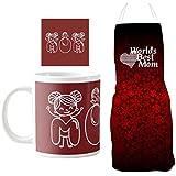 YaYa Cafe Mothers Day Gifts, Cute Worlds Best Mom Hamper For Mother Set Of 3 - Apron, Mug, Coaster