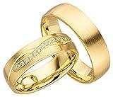 Verlobungsringe Eheringe Trauringe Partnerringe 2 Ringe Gold Plattiert JC008 *mit Gravur und Stein*
