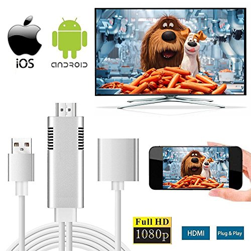 Lightning zu HDMI Kabel, 3-in-1 Lightning/Micro USB/Typ-C zu HDMI Adapter 1080P Digital AV Adapter HDTV Kabel Unterstützung iOS 8.0 und Android 5.0 und höher Smartphones auf HDTV/Beamer