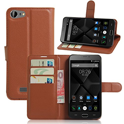 Antenna Doogee Y200 Holster Case Flip, Cover Suit Premium Vertical Leather Pouch Sleeve Carrying Case Protects with Card Slot Holster for Doogee Y200 (Brown) Vertical Slim Case
