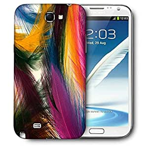 Snoogg Plumas Coloridas Printed Protective Phone Back Case Cover For Samsung Galaxy Note 2 / Note II