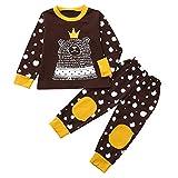 Kobay Babykleidung Mädchen Bekleidungsset 2 STÜCKE Kinder Kinder Lange Ärmel Cartoon Bär Top Kleidung + Hosen Set Outfit(18-24M,Braun)