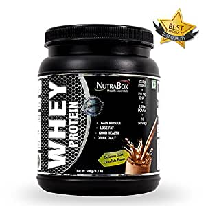 Nutrabox™ 100% Whey Protein Powder For Gym / Athletes Enriched With DHA & MCT For Extraordinary Results And A Great Taste (IRISH CHOCOLATE FLAVOUR, 1.10 LBS / 500 GRAMS, 15 SERVINGS)| The Best Post Workout Proteins, Supplements For Sportsmen & Bodybuilders (Men & Women)