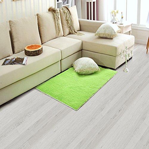 Alfombra antideslizante, fabricada en tejido de peluche, suave y de lana de pelo largo, ideal para salas de estar o dormitorios, Verde, 19.6x31.4 inches