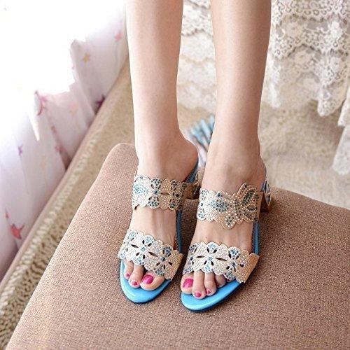 Minetom Donne Moda Elegante Estate Pantofole Finto Strass Fiore Farfalla Sandali Peep Toe Pantofol Azzurro B