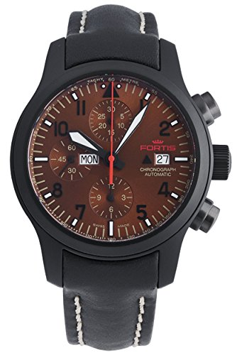 Fortis B-42 Aeromaster Dusk Automatic Chronograph Day/Date Black PVD Steel Mens Watch 656.18.98 L.01