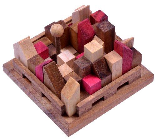 City - Stadt - 3D Puzzle - Denkspiel - Knobelspiel - Geduldspiel - Logikspiel aus Holz mit vielen Spielvarianten