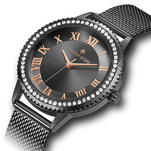 Timothy Stone Damen Schwarz & Rose Swarovski Crystals Edelstahl Mesh Armband 'Parker' Damen Armbanduhr