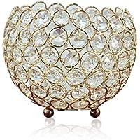 AOLAO Candelabro de Cristal Dorado de 6 Pulgadas, decoración Elegante de Regalo de Fiesta de año Boda (4 Pulgadas)