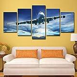 Toile Mur Art Photos Modulaire Hd Prints Affiche Ciel Bleu Ciel 5 Pièces Cool Avions...