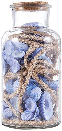 Heitmann Deco - Glasflasche mit blauen Muscheln und Tauwerk- maritime Deko für Sommer und Frühling - Tischdeko