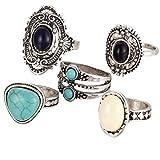 VJGOAL Damen Ring, 5 Teile/Satz Frauen Mädchen böhmischen Vintage Silber Stapel über Knöchel blau Ringe Set Frau Geschenk (Silber)