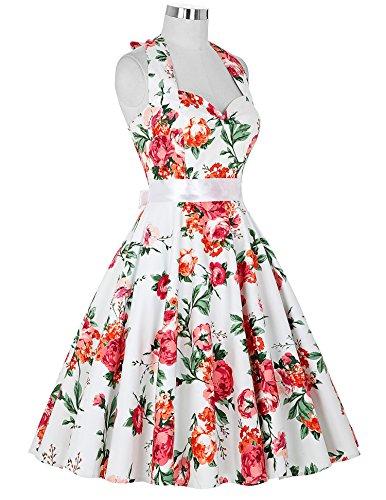 50s Retro Vintage Rockabilly Kleid Neckholder Festliches Kleid Petticoat Kleid CL6075-13