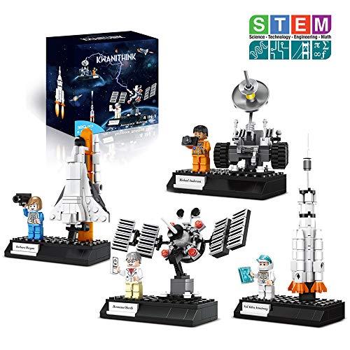 KWANITHINK Konstruktionsspielzeug für ab 6 jahren, 4-IN-1 Bauspielzeug mit Rakete Space Shuttle Satellites Lunar Rover, Weltraum Spielzeug für Kinder