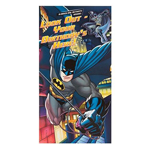 """DC Comics Hallmark Geburtstagskarte""""Batman Aktivität und Badge""""–Medium"""