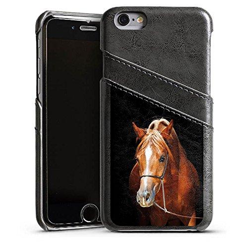 Apple iPhone 4 Housse Étui Silicone Coque Protection Cheval Cheval Jument étalon Étui en cuir gris