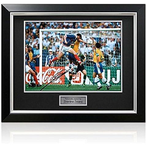 Deluxe Enmarcado Firmado Francia Zinedine Zidane Foto: Meta Copa del Mundo (incrustaciones de plata)