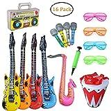 SECOWEL 16 Stücke Aufblasbare Musikalische Instrumente Spielzeug Party Prop - Aufblasbare Gitarre, Saxophon, Mikrofone, Shutter Shade Brille, Musik-Player, Trommel und Pumpe