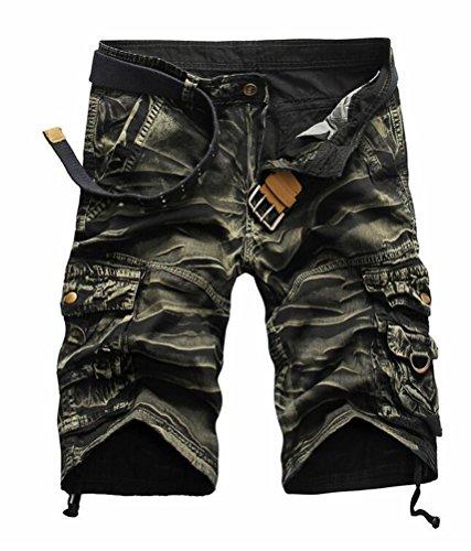 SMITHROAD Herren Cargo Short Chino Shorts 6-Pocket-Style Kurze Hose Freizeithose 8 Farben W29-W38 Camouflage-Oliv