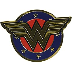 "Dc Comics Licensed Heavy Duty Embossed Metal Sticker-Colored Wonder Woman Shield 2.5""X3.5"""