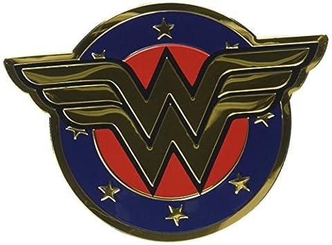 DC Comics Licensed Heavy Duty Embossed Metal Sticker-Colored Wonder Woman Shield
