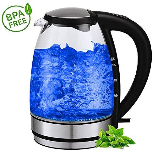 Glas Edelstahl Wasserkocher   BPA-Frei   Edelstahlwasserkocher   Glaswasserkocher   Elektrischer Wasserkocher   2.200 Watt   1,7 Liter   Blaue LED Beleuchtung  