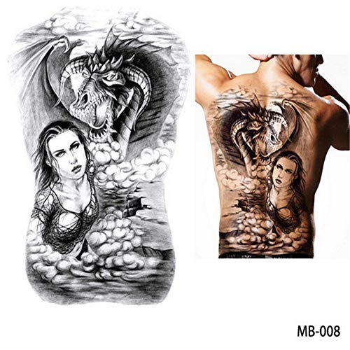 Clown-fisch-shirt (tzxdbh 2Pcs-Big Large Full Back Brust Tattoo große Tätowierung Aufkleber Fisch Wolf Tiger Dragon wasserdicht temporäre Flash-Tattoos Coole Männer Frauen 2Pcs-16)
