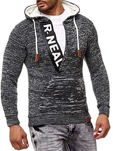 Baxboy Herren Strick-Pullover Zipper Kapuzenpullover Strickjacke mit Kapuze Gr. S bis 4XL RN-13277, Größe:M, Farbe:Anthrazit/Ecru